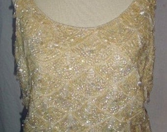 Sequined & Beaded Saks Fifth Ave Sweater Shell