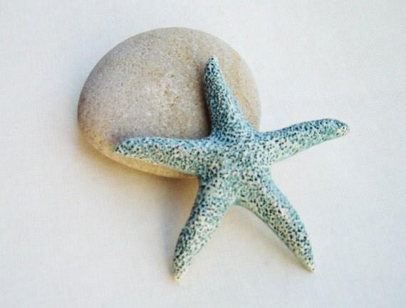 SUMMER SALE starfish blue ceramic decoration