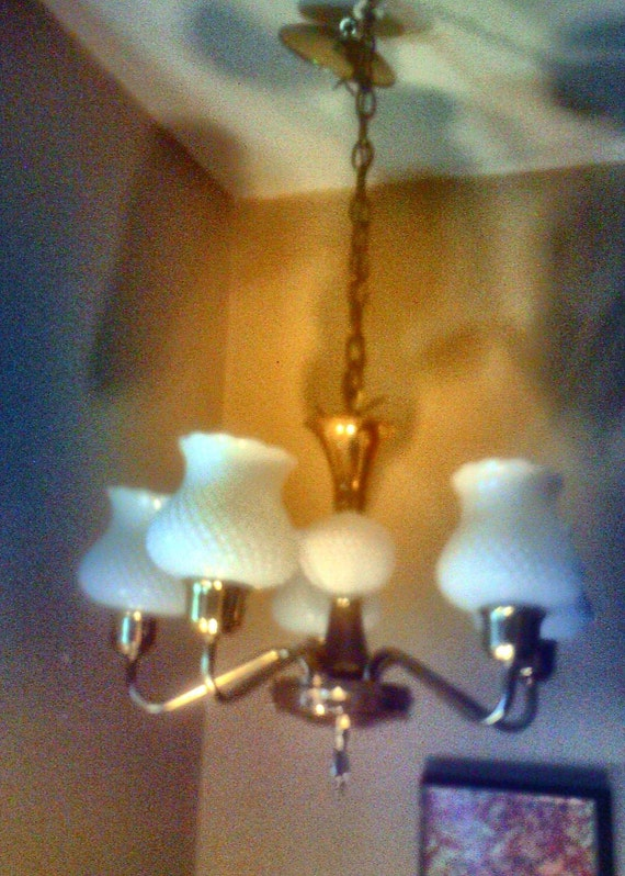 1950s Vintage Milk Glass and Brass Chandelier Very Good Condition