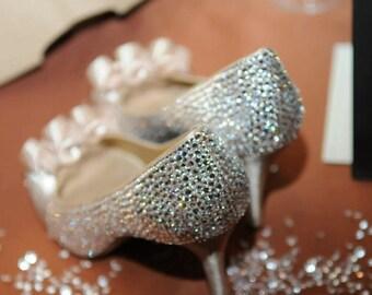 Wedding shoes with swarovski crystals.