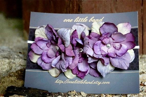 2 LEFT- Petite Purple flowers w/swarovski crystals on thin ivory elastic shabby chic headband, newborn headband, photographer baby prop.