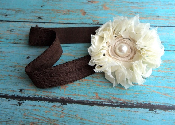 Shabby ivory and pearl flower upon soft brown elastic. Photo, prop, infant, toddler, adult, all sizes.