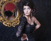 Exquisite chiffon and lace evening gown with puff lace shoulder