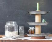 Metal 3-Tier Kitchen Organizer Caddy with Vintage Pie Plates