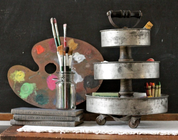 3 Tier Art Supply Desk Organizer made from Vintage Cake Pans