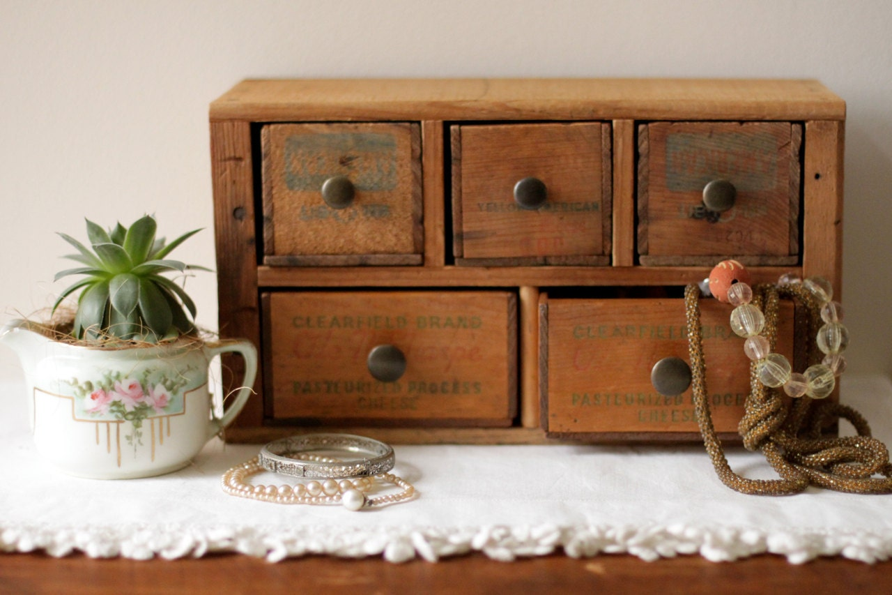 Multi Drawer Jewelry Box Desk Organizer From Vintage Cheese