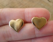 Gold heart studs, heart studs earrings in gold, gold studs