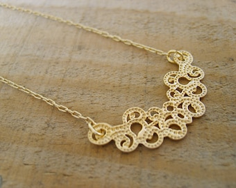 Lace Necklace in gold - inspired by Ancient lace-design in gold, gold necklace