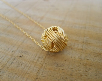 layered necklace, Pompom Pendant necklace in gold, gold necklace
