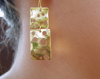 Gold dangling earrings, dangled earrings design in gold by Peshka.