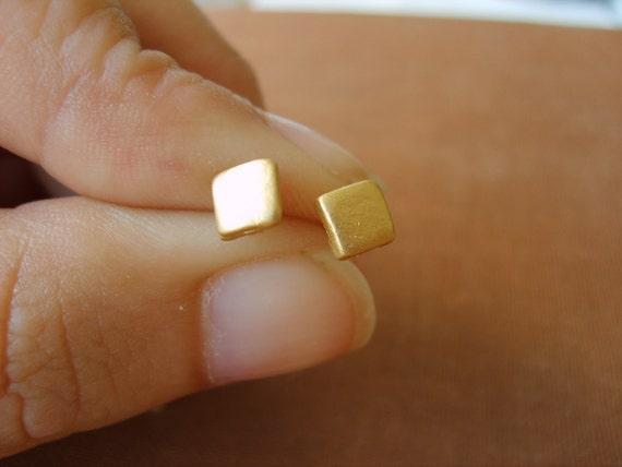 Lovely little Square gold studs earrings, handmade (gold plated 24K), gold stud earrings