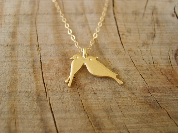 Sweet Lovebirds Necklace - Love birds necklace in gold , Two Little Love Birds Gold Necklace