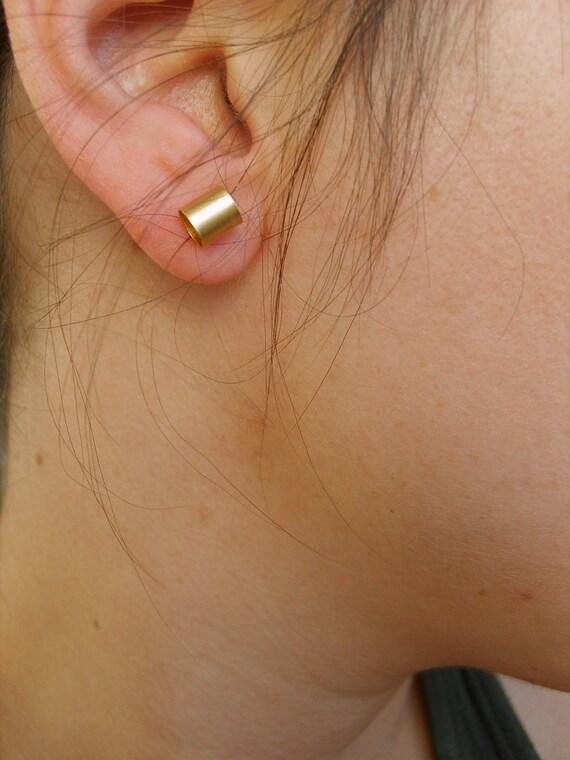 Handmade tubular small gold Stud earrings ( matte-gold plated 24K), gold stud earrings