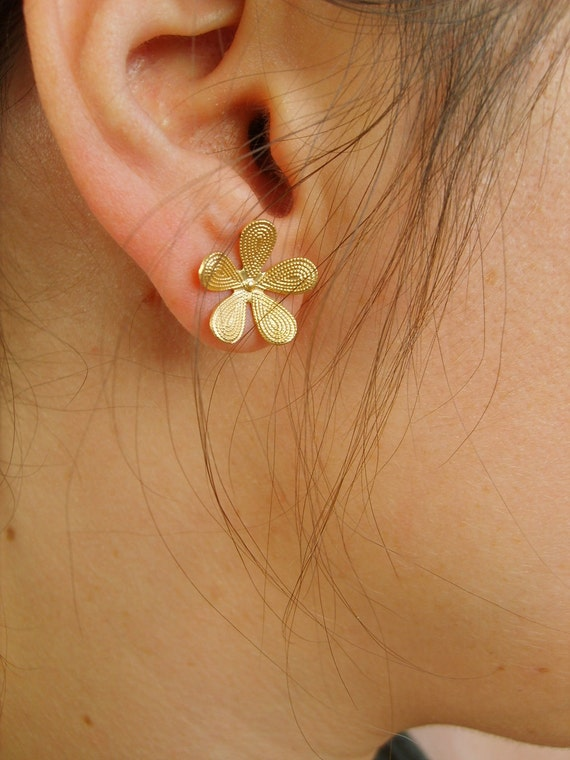 Flower gold stud earrings earrings by Peshka, gold stud earrings