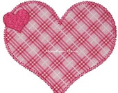 Instant Download Double Heart Machine Embroidery Satin and Zig Zag Applique Design 4x4, 5x7 and 6x10