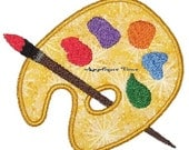 Instant Download Painter's Palette Machine Embroidery Applique Design 4x4, 5x7 and 6x10