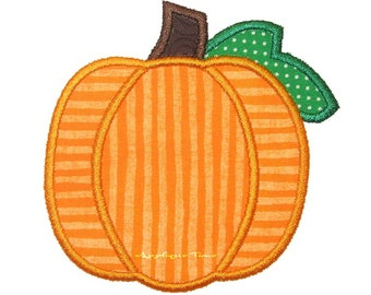Instant Download Pumpkin with Leaf Machine Embroidery Applique Design 4x4, 5x7 and 6x10