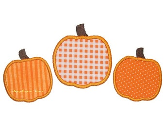Instant Download Pumpkin Trio Machine Embroidery Applique Design 5x7 and 6x10