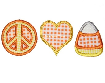 Instant Download Peace, Love & Candy Corn Machine Embroidery Applique Design 4x4, 5x7 and 6x10