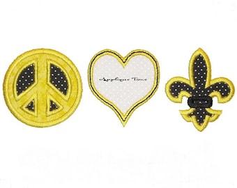 Instant Download Peace, Love, Fleur De Lis Machine Embroidery Applique Design 5x7 and 6x10