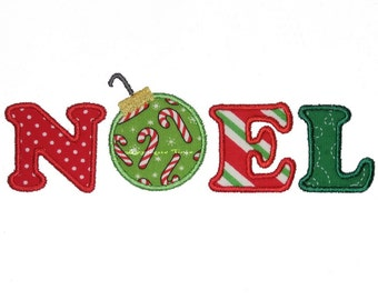 Instant Download Noel Machine Embroidery Applique Design 5x7 and 6x10