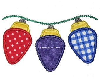 Instant Download Christmas Lights Machine Embroidery Applique Design 4x4, 5x7 and 6x10