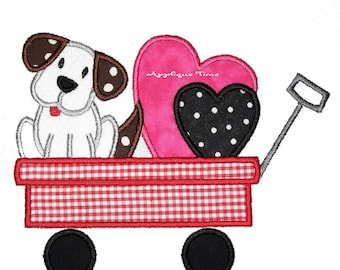 Instant Download Puppy and Valentine Hearts in a Wagon Machine Embroidery Applique Design 5x7 and 6x10