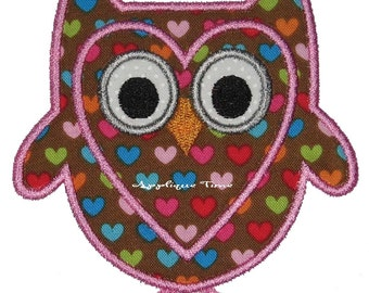 Instant Download Valentine Owl Machine Embroidery Applique Design 4x4, 5x7 and 6x10