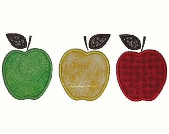 Instant Download Apple Trio Machine Embroidery Applique Design 5x7 and 6x10