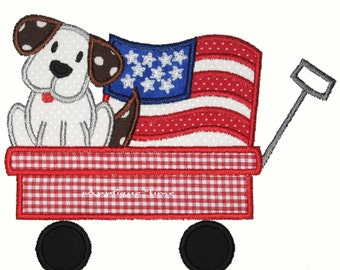 Instant Download Puppy and American Flag in a Wagon Machine Embroidery Applique Design 5x7 and 6x10