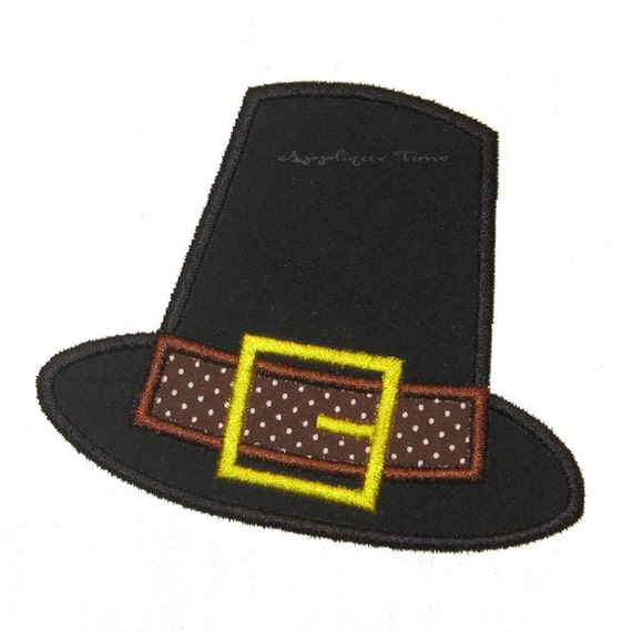 Pilgrim Hat Machine Embroidery Applique Design 4x4, 5x7 and 6x10