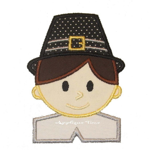 Instant Download Boy Pilgrim Machine Embroidery Applique Design 4x4, 5x7 and 6x10