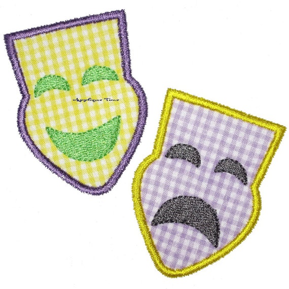 Instant Download Mardi Gras Comedy Tragedy Mask Machine Embroidery Applique Design 4x4, 5x7 and 6x10