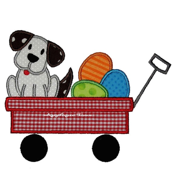 Instant Download Puppy and Easter Eggs in a Wagon Machine Embroidery Applique Design 5x7 and 6x10