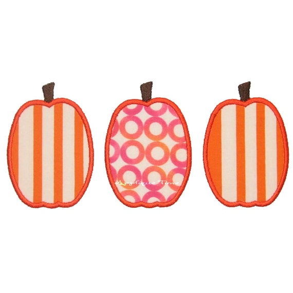 Instant Download Tall Pumpkin Trio Machine Embroidery Applique Design 5x7 and 6x10