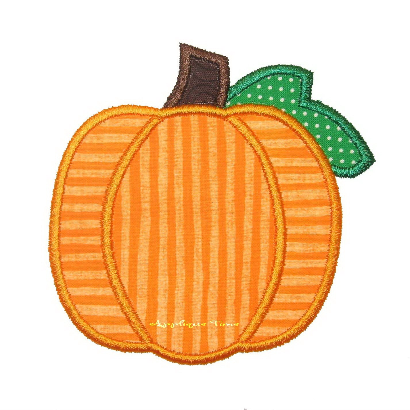 Instant download pumpkin with leaf machine embroidery