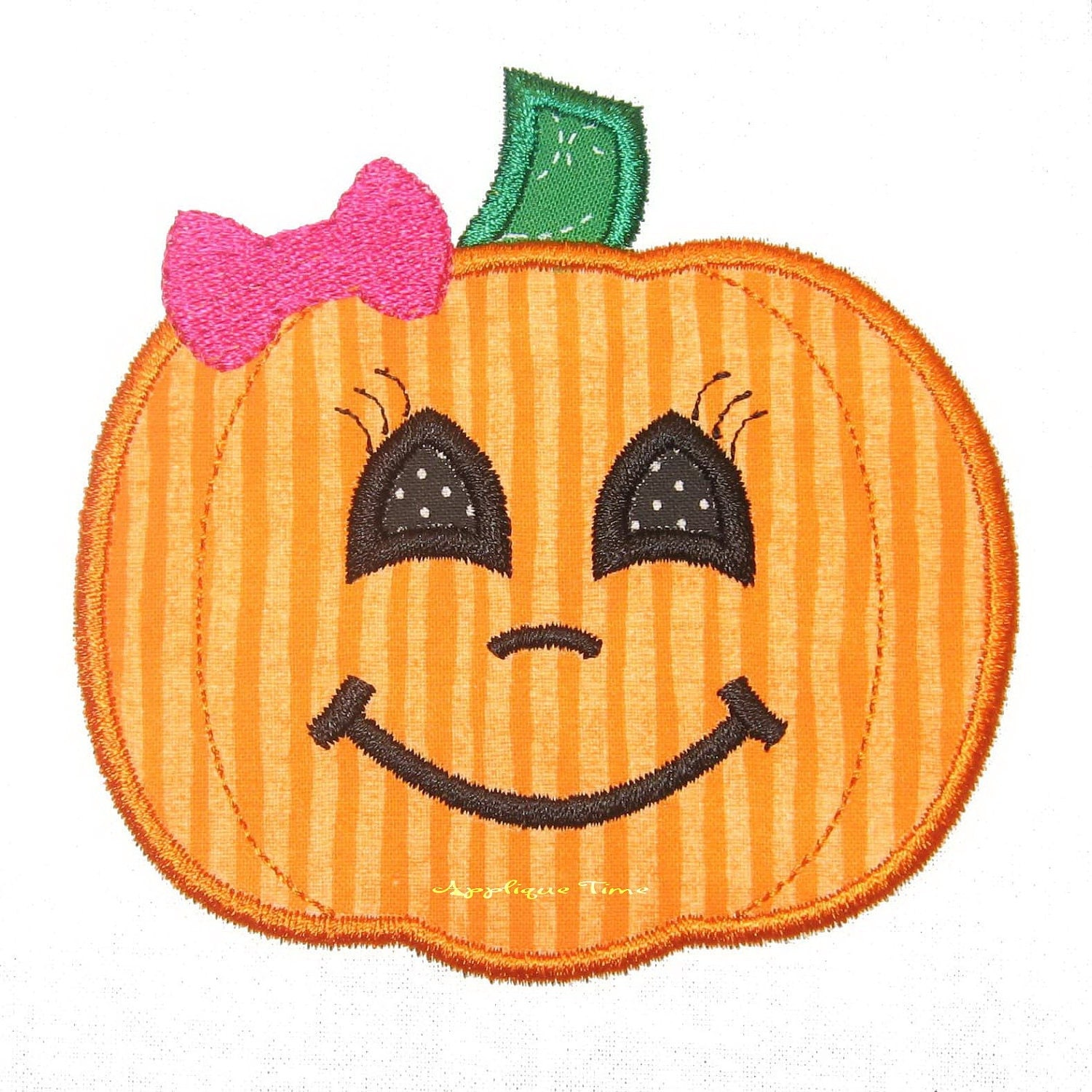 Girly pumpkin machine embroidery applique design and