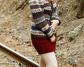 Multicolored Fall Winter Snowflake Zip Up Cozy Oversized Cardigan M/L