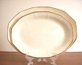 Ironstone Platters: Vintage Pair, Gold Rimmed