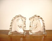 RESERVED FOR SHANNON       Horse Head Bookends: Vintage Glass, Horsehead Figurines