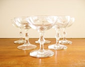 Bamboo Stemmed Champagne Coupes, Cocktail Glasses, Faux Bamboo