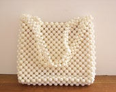 Vintage Beaded White Handbag, Purse