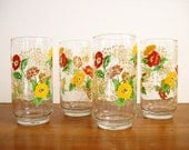 Mod Floral Glasses, Tumblers, Retro Glassware