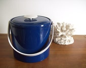 Georges Briard Ice Bucket, Vintage, Navy and White, Nautical