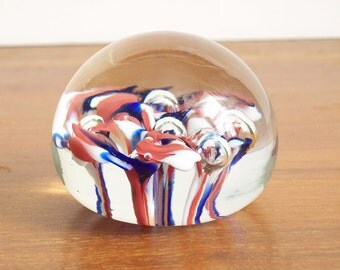Vintage Glass Paperweight - 1950s - Red White Blue