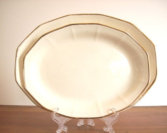 Ironstone Platters: Vintage Pair, Gold Rimmed