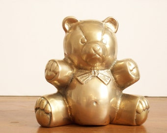 Brass Teddy Bear, Vintage Figurine