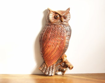 Owl Wall Hanging, Vintage, 1960s, Syroco