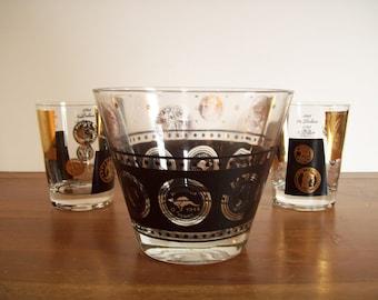 Black and Gold Coin Barware, Mad Men Era, Vintage Glassware