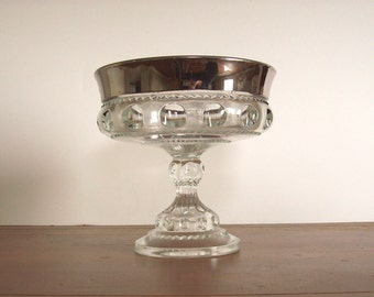 Vintage King's Crown Compote with Silver Band